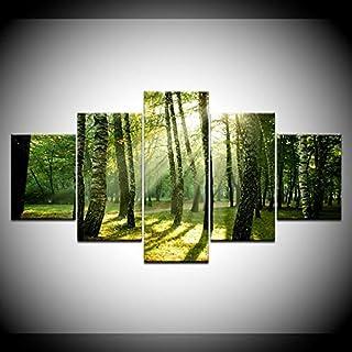 WLYUE-Imagen 150x80 cm/59.1x31.5The Windy Green Forest Landscape 5 Paneles HD Print Wall Art Modern Modular Poster Art ...