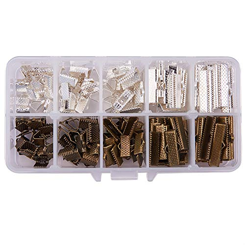 PandaHall Elite 40 pcs 8/10/13/20/25mm Iron Ribbon End Clamps End Findings Cord Ends Fasteners Clasp Leather Crimp Ends for Jewelry Making, 2 Mixed Colors