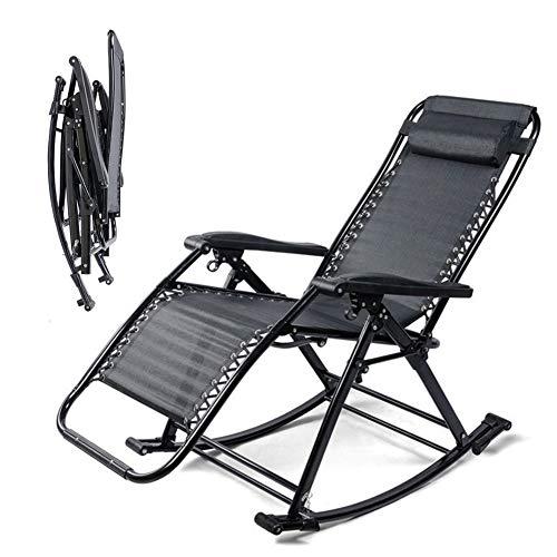 WJZJ Relax Liegestuhl Klappbar Schaukelstuhl Campingstuhl Multifunktion Campingliege Fußablage (verstellbar) 150 Kg Klappstuhl EinstellbarBlack
