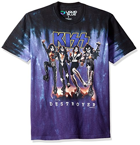 Liquid Blue Men's Plus Size Kiss Destroyer Glow in The Dark Short Sleeve T-Shirt, Tie Dye/Multi, Small