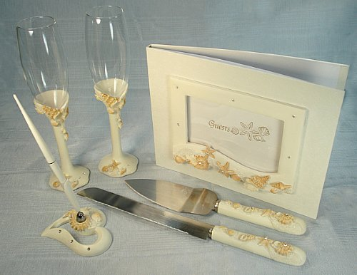 DLusso Designs B4375 4 Piece Beach Theme Bridal Accessory Set. Guest Book44; Toasting Flutes44; Cake Set And Pen Set44; Pack Of - 1.