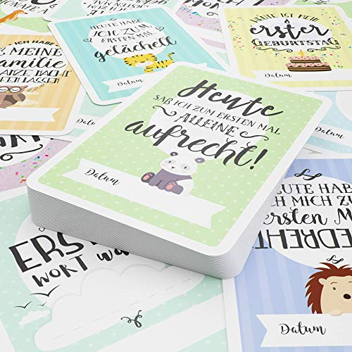 Baby Milestone Cards DEUTSCH – Meilenstein karten – 40 unisex Fotokarten – Geschenkset – Babyparty – Erstes Lebensjahr - 4