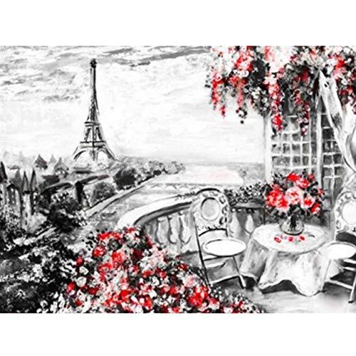 5D DIY diamante pintura paisaje París Torre punto de cruz taladro completo redondo bordado mosaico imagen de diamantes de imitación A7 50x70cm