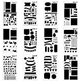 12 Pcs Journal Stencil Plastic Planner Set for Notebook/Diary/Scrapbook DIY Drawing Template