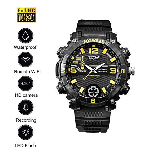 Smart Wearable Waterproof Sports Watch Camera Digital Recorders 1080P HD Wireless WiFi Nanny Security Cam, APP voor Android/Apple/PC (2020)