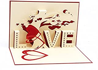 Medigy 3D Pop Up Greeting Card for Valentines,Lovers,Couple's,Wedding,Dating,Anniversary (Love tree) Red