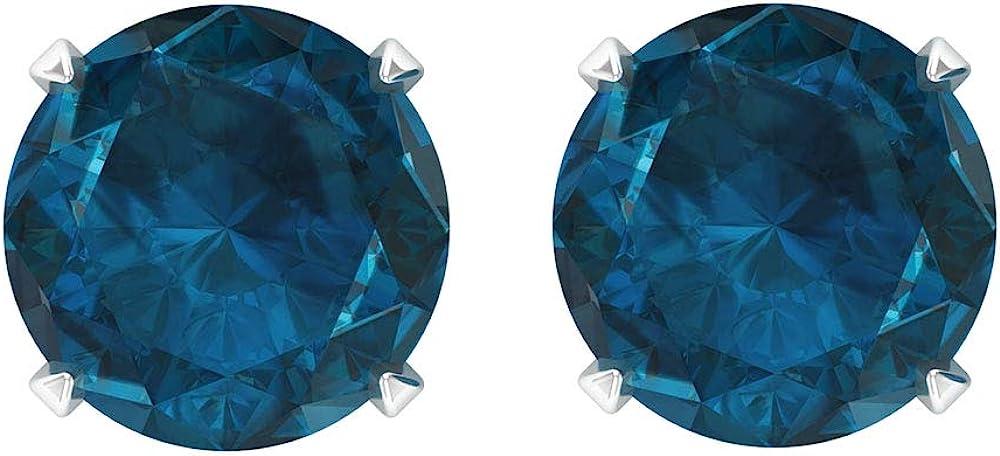 1.8 CT London Blue Topaz Earrings, Gold Wedding Earrings, Solitaire Stud Earrings, Screw back