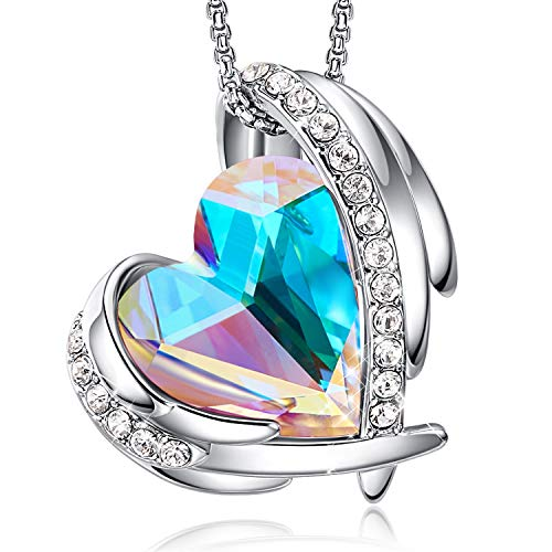 CDE Love Heart Pendant Necklaces for Women Silver Tone Rose Gold Tone Crystals Birthstone Jewelry Gifts for Party/Anniversary Day/Birthday