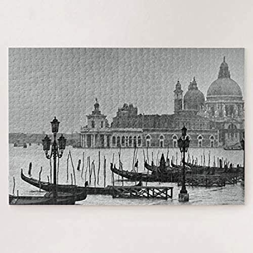 Black White Vintage Venice Canal Travel 500 piece puzzles Non-toxic Wooden Jigsaws Fun Game Toy For Men To Improve Logical Judgment