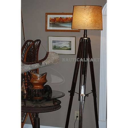 Nauticalmart Vintage Brass Finish Tripod Floor Lamp For Living Room