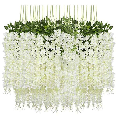 Gefälschte Blume 12 Pack Künstliche Wisteria Rebe Gefälschte Wisteria Hängende Girlande Seide Lange Hängende Bush Blumen String Home Party Blume (Color : White)