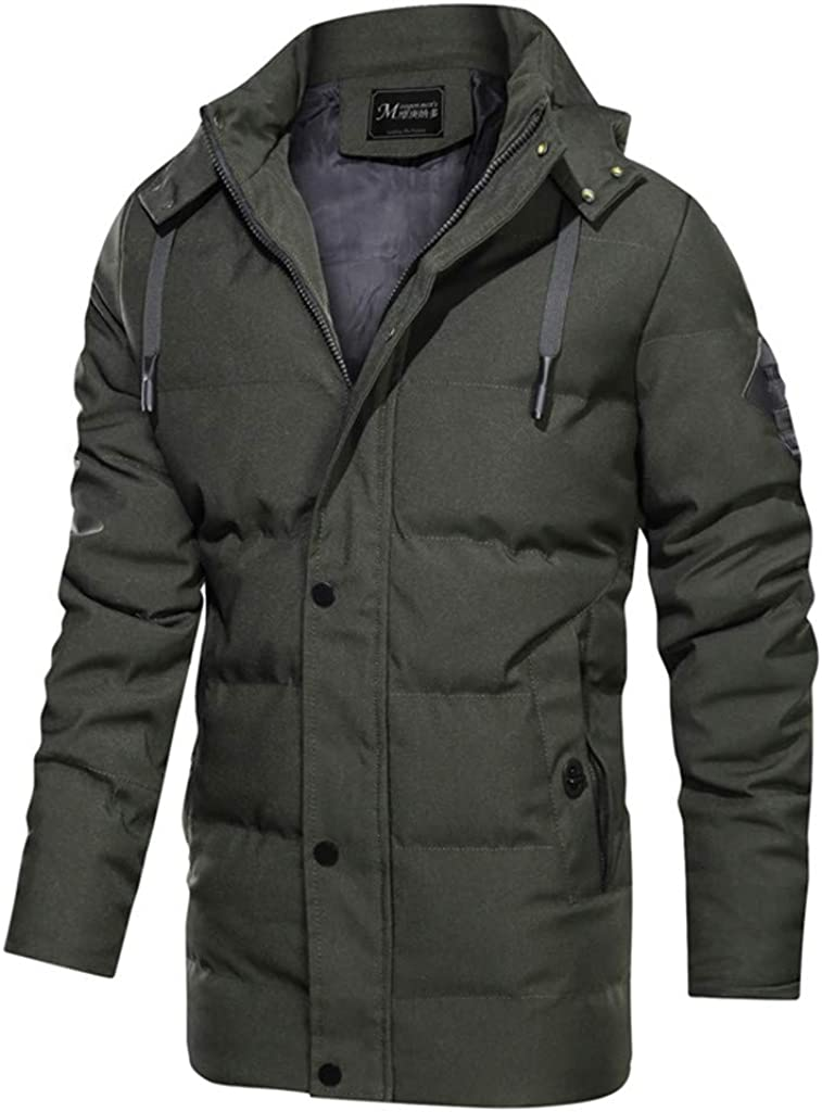 DIOMOR Casual Winter Warm Long Down Jacket Puffer Coat Quilted Parkas with Removable Hood Outdoor Thicken Windbreaker