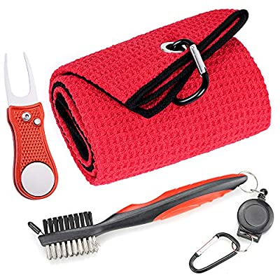 Mile High Life Microfiber Waffle Pattern Golf Towel | Club Groove Cleaner Brush | Foldable Divot Tool with Magnetic Ball Marker (Dark Gray Towel/Brush/Bone Divot)