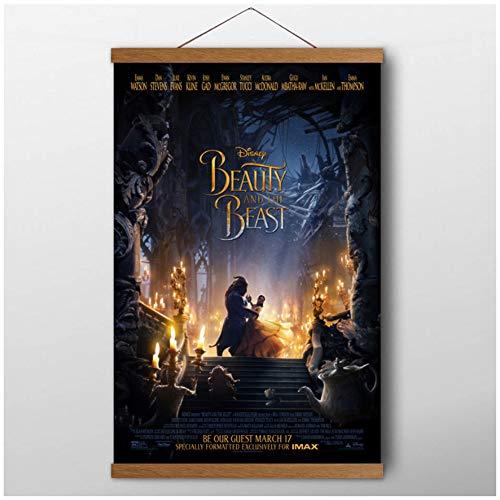 La bella y la bestia Cartel de la película Arte de la pared Impresiones de la lona Decoración del hogar Teca Rollos de madera Pinturas