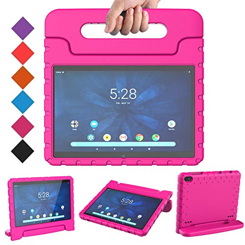 BMOUO Kids Case for Walmart Onn 10.1 Tablet,Walmart Onn 10.1 Tablet Case for Kids,Shockproof Light Weight Handle Stand Kids Case for Walmart Onn 10.1 inch Tablet 2019 Release (Model: ONA19TB003), Rose