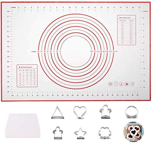 YFOX, tappetino per pasta antiaderente riutilizzabile, con tappetino in silicone per la misurazione dei pasticcini, kit con raschietto e stampo per biscotti Dimensioni: 60 x 40 cm (rosso)