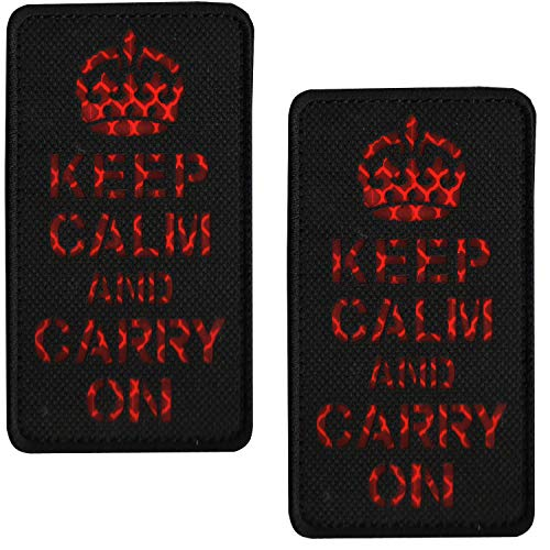 2PCS Keep Calm and Carry on Morale Patch with Loop and Hook Backing, IR Reflective Tactical Military Patches Badge 3.94 x 1.97 Inch