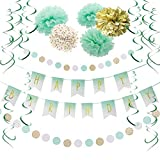 SUNBEAUTY Mint Gold Birthday Decorations Mint White Happy Birthday Banner Paper Pom Poms Flowers Green Hanging Swirls Baby Shower 1st Birthday Bridal Shower Party Supplies