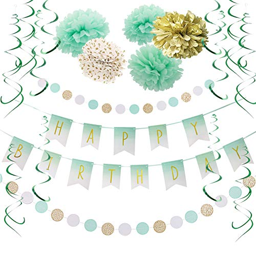 SUNBEAUTY Happy Birthday Girlande Set Mint Geburtstag Dekoration Grün Seidenpapier Pompoms Folie Spirale Deko (Mint)