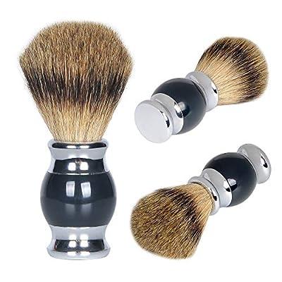 100% Pure Badger Shaving Brush, Handmade Badger Hair Shave Brush for Men with Balck Handle, Professional Hair Salon Tool Wet Shaving