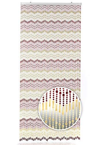 Kobolo Türvorhang Brown+BEIGE Perlenvorhang 90x200 cm -braun beige