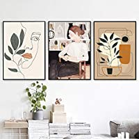 緑の葉緑の植物ポスター北欧スタイルの壁アートキャンバス植物プリント絵画線画顔現代の家の装飾画像-16x24インチフレームなし