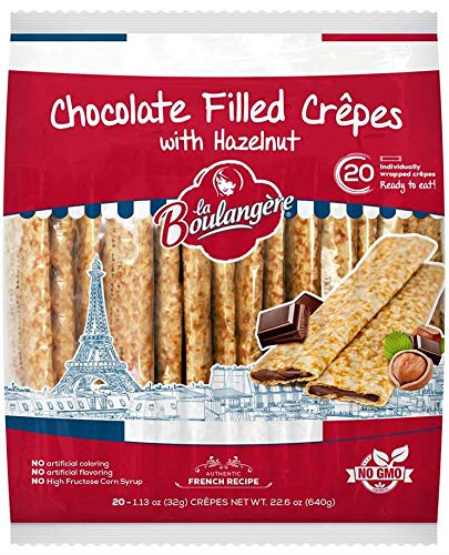 La Boulangere Chocolate Hazelnut Crepes, Individually Wrapped, Non GMO, Free From Artificial Flavors & Colors, 20-Count 2 Packs