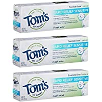 3-Pack Tom's of Maine Natural Rapid Relief Sensitive Toothpaste 4oz (Fresh Mint)
