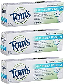 3-Pack Tom's of Maine Natural Rapid Relief Sensitive Toothpaste 4oz