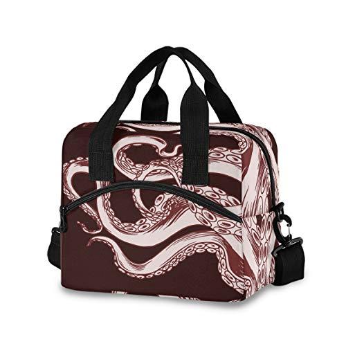 Bolsa de almuerzo para mujeres y hombres, bolsa de mano aislada con pulpo realista con correa de hombro desmontable y asa de transporte, bolsa enfriadora reutilizable para el trabajo, escuela, picnic