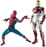Rfeifei Spider-Man/Iron Man Set Jouets - Spider-Man Action Figure 7 Pouces / 19 cm et Iron Man MK47 Action Figure 11 Pouces / 28 cm, Cadeau d'anniversaire Set modèle Manuel
