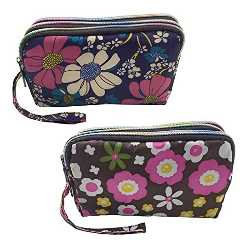 Gold Fortune 2 Packs Handing 3 Zipper Pockets Jewelry Coin Travel Bags Purse Clutch Wallet Value Set 4.75 by 7.5 Inch (Flower One)