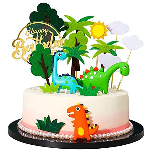 Auidy_6TXD 17 Pezzi Topper per Torta di Dinosauri, Animale Torta Toppers Compleanno Cupcake Toppers Decorazioni Torta Compleanno per Bambini, Giungla Tema Torta Toppers per Feste di Compleanno(3D)