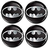 SkinoEu® 4 x 56mm 3D Silicona Adhesivo Pegatinas Stickers Universal Tapas de Rueda de Centro Tapacubos para Coche Auto Tuning Batman A 7256