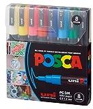 Posca Acrylic Paint Marker Set, 8 Color Fine, PC-3M, Version 2 (PC3M8SET)