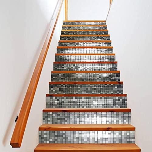 tzxdbh losetas vinilo para escaleras Plata mosaico cuadrado 100CMx18CMx13pieces(39.3'w x 7'h x 13pieces) Escaleras Cocina Piso Baño Simulación Decoración de Pared Hogar Impermeable Extraíble Etiqueta