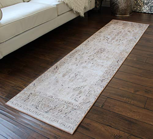 Masada Rugs, Vintage-Teppich, Kunstseide, Used-Look Shabby Chic 2 feet x 7 feet