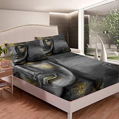 Tbrand Juego de sábanas con diseño de Buda gris para niños y niñas, diseño de cultura asiática, juego de sábanas de estilo exótico para decoración de dormitorio, colección de 3 piezas de tamaño doble
