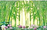 Papel tapiz fotográfico Loto de bambú verde 3D Lana Fondo De Pantalla XXL Papel pintado tejido no tejido Moderna Decoración De Pared Sala Cuarto 400 X 280 cm
