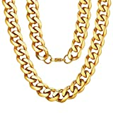 ChainsPro Collier Chaîne Homme Or 18 Carat 12MM,Collier Grosse Maille...