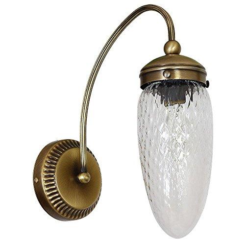 Tropfen Wandleuchte (Jugendstil, Messing, Klar, Zapfenschirm, E27) Messinglampe Jugendstillampe...