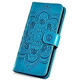 Surakey Coque Xiaomi Redmi 6 étui à Rabat en Cuir PU,Soleil Fleurs Mandala Motif Etui Housse Cuir PU Portefeuille Folio Flip Case Cover Wallet Coque de Protection pour Xiaomi Redmi 6 (Bleu)