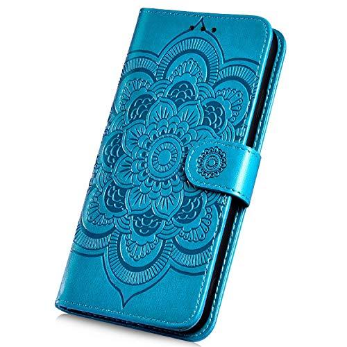 Surakey Cover Compatibile con Huawei Honor 10 Flip Libro Portafoglio Pelle Case Modello di Mandala con Funzione Supporto e Porte Carte Chiusura Magnetica Anti-Scratch Goffratura Custodia,Blu