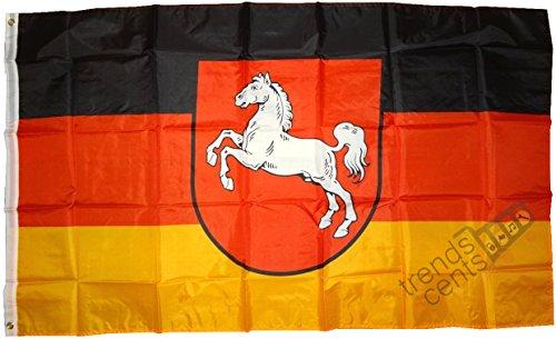 trends4cents Top Qualität - Flagge Niedersachsen MIT Wappen Fahne, 250 x 150 cm, EXTREM REIßFEST, Stoffgewicht ca. 100 g/m²