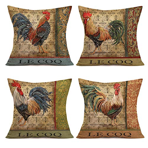 Asminifor Throw Pillow Covers Vintage Farmhouse Rooster Decorative Throw Pillow Case Cushion Cover Set of 4 Watercolor Chicken Pillowcase Home Office 18