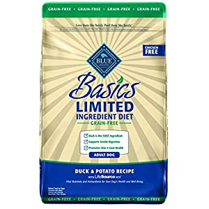 Blue Buffalo Basics Limited Ingredient Diet, Grain Free Natural Adult Dry Dog Food, Duck & Potato 22-lb