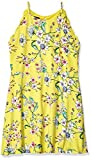 Amy Byer Girls' Big Fit & Flare Day Dress, Yellow/Coral Caribbean Floral, L