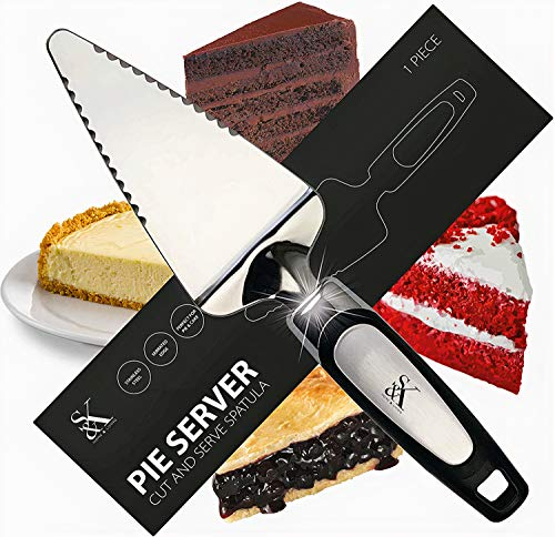 S&K Pro-Grade Cake and Pie Server Spatula: 2-in-1 Cut and Serve Design with Flexible Head, Serrated Edges, Easy-to-Grip Handle, 10-Inch, Stainless-Steel