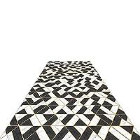 廊下敷きカーペット エクストラロング 廊下ランナーラグ 黒と白 洗えるカーペット キッチン/ランドリー/ベッドルーム/ファームハウス、60cm / 80cm / 100cm / 120cmワイド (Size : 100x400cm)