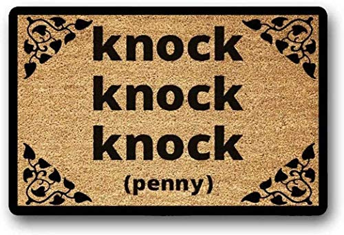 LHM Knock Knock Knock Penny Big Bang Theory - Felpudo divertido para inauguración de la casa, nuevo hogar, boda, regalo para un amigo, regalo para un friki 45 x 75 cm